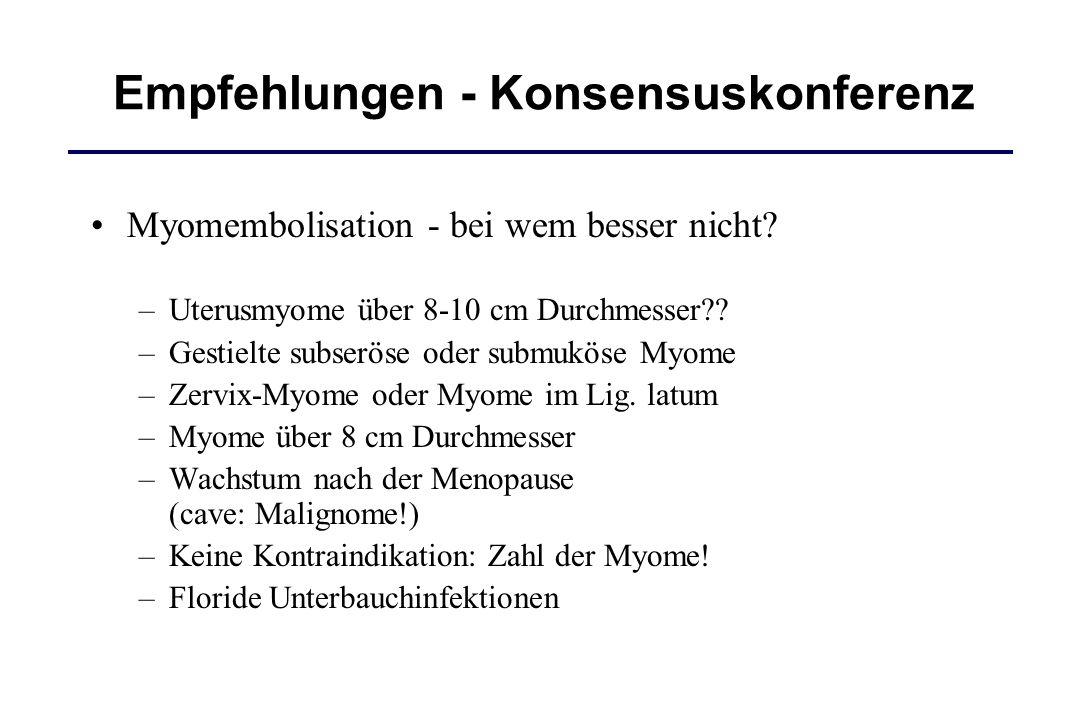 Myomembolisation - bei wem besser nicht? –Uterusmyome über 8-10 cm Durchmesser?? –Gestielte subseröse oder submuköse Myome –Zervix-Myome oder Myome im