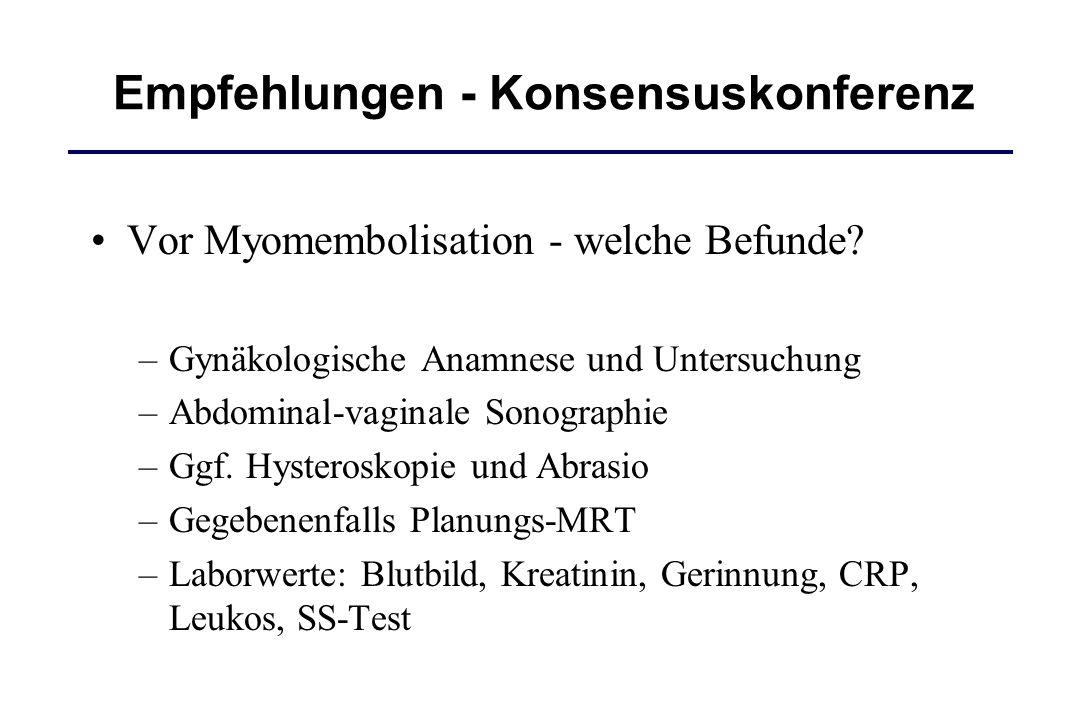 Vor Myomembolisation - welche Befunde? –Gynäkologische Anamnese und Untersuchung –Abdominal-vaginale Sonographie –Ggf. Hysteroskopie und Abrasio –Gege