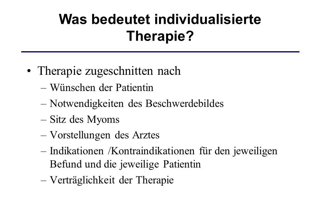 Therapie zugeschnitten nach –Wünschen der Patientin –Notwendigkeiten des Beschwerdebildes –Sitz des Myoms –Vorstellungen des Arztes –Indikationen /Kon