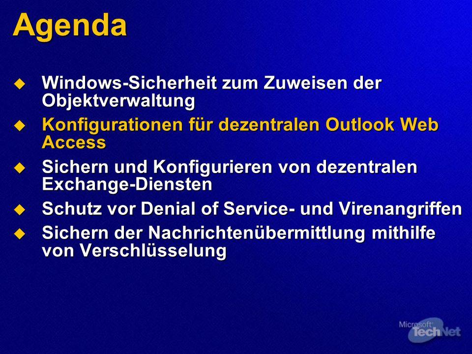 Agenda  Windows-Sicherheit zum Zuweisen der Objektverwaltung  Konfigurationen für dezentralen Outlook Web Access  Sichern und Konfigurieren von dezentralen Exchange-Diensten  Schutz vor Denial of Service- und Virenangriffen  Sichern der Nachrichtenübermittlung mithilfe von Verschlüsselung