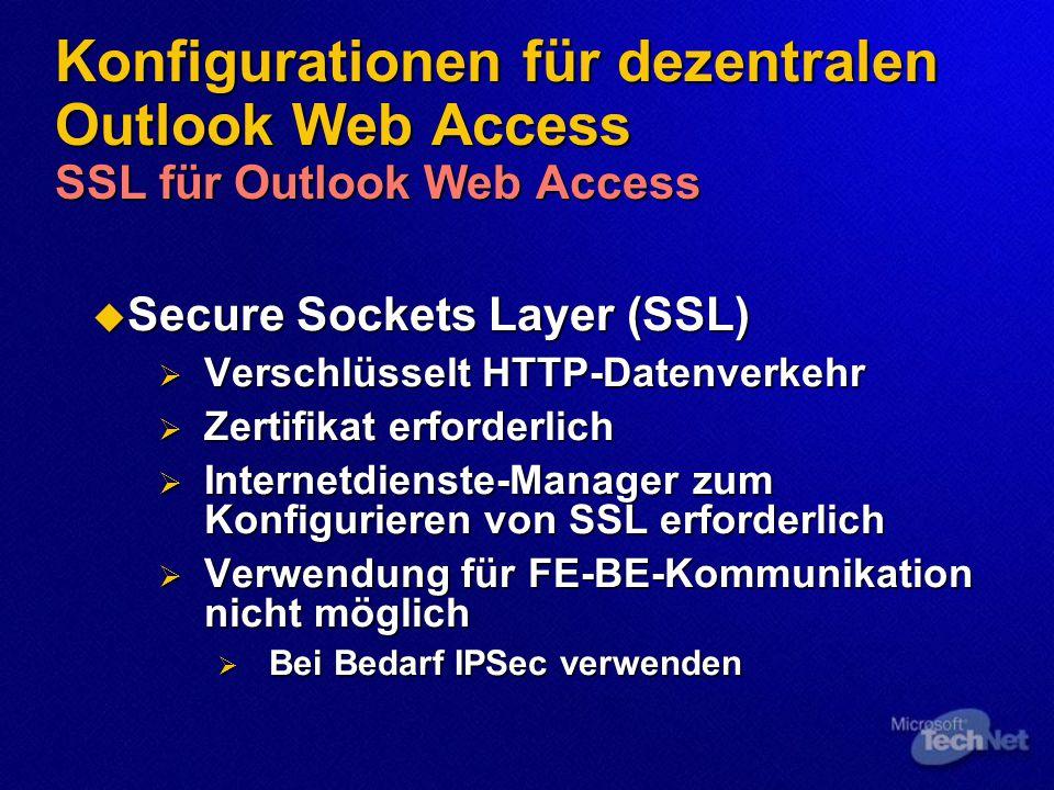 Konfigurationen für dezentralen Outlook Web Access SSL für Outlook Web Access  Secure Sockets Layer (SSL)  Verschlüsselt HTTP-Datenverkehr  Zertifikat erforderlich  Internetdienste-Manager zum Konfigurieren von SSL erforderlich  Verwendung für FE-BE-Kommunikation nicht möglich  Bei Bedarf IPSec verwenden
