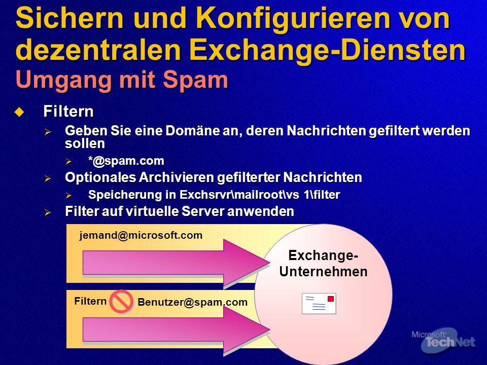 Sichern und Konfigurieren von dezentralen Exchange-Diensten Umgang mit Spam  Filtern  Geben Sie eine Domäne an, deren Nachrichten gefiltert werden sollen  *@spam.com  Optionales Archivieren gefilterter Nachrichten  Speicherung in Exchsrvr\mailroot\vs 1\filter  Filter auf virtuelle Server anwenden jemand@microsoft.com Filtern Benutzer@spam.com Exchange- Unternehmen