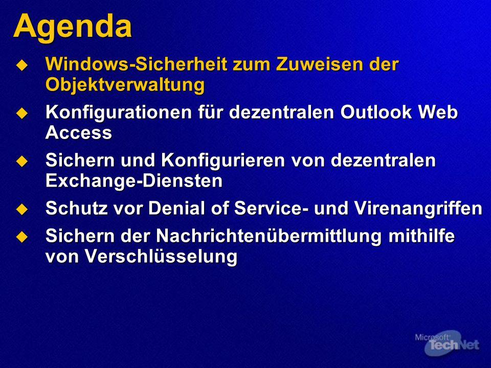 Demo 4 (Teil 1) Schutz vor Denial of Service- und Virenangriffen Globale Einstellungen zum Verhindern von Nachrichtenfluten