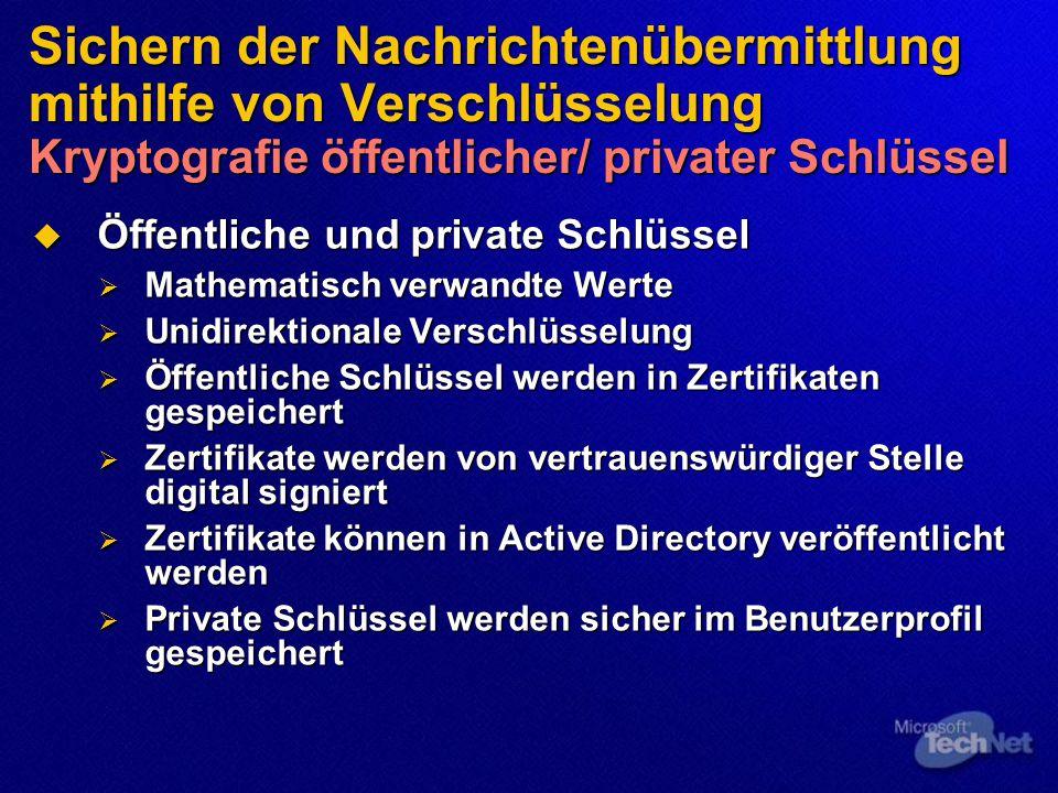 Sichern der Nachrichtenübermittlung mithilfe von Verschlüsselung Kryptografie öffentlicher/ privater Schlüssel  Öffentliche und private Schlüssel  Mathematisch verwandte Werte  Unidirektionale Verschlüsselung  Öffentliche Schlüssel werden in Zertifikaten gespeichert  Zertifikate werden von vertrauenswürdiger Stelle digital signiert  Zertifikate können in Active Directory veröffentlicht werden  Private Schlüssel werden sicher im Benutzerprofil gespeichert