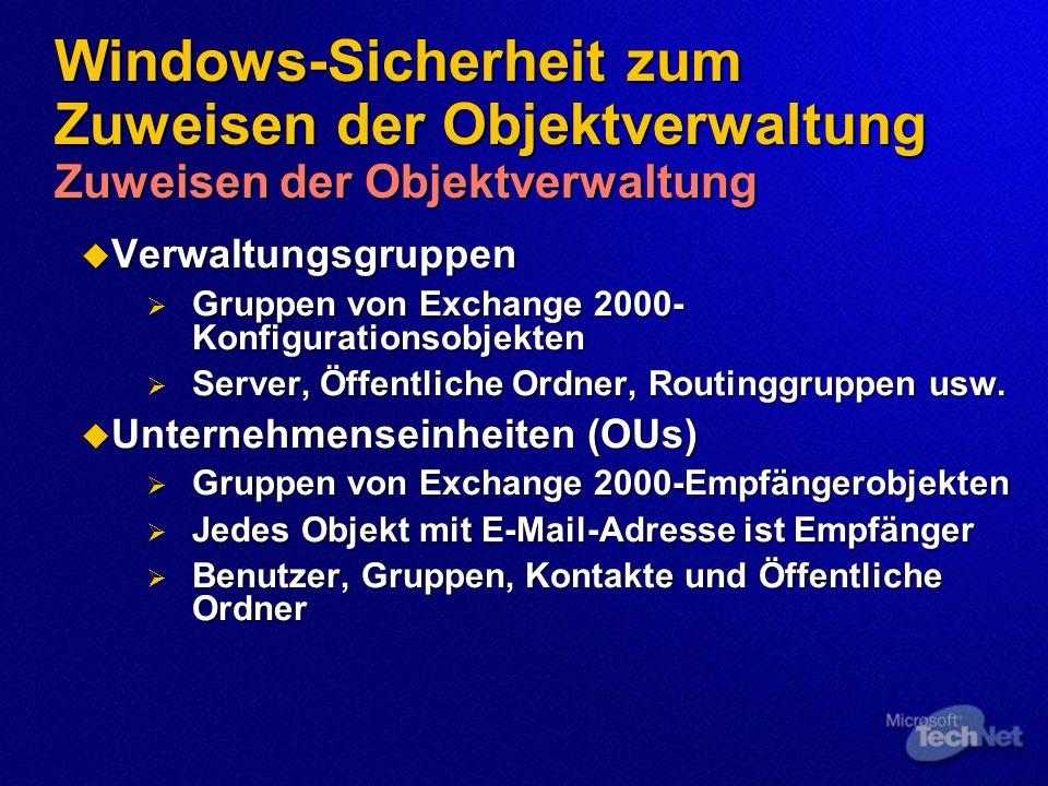 Sichern der Nachrichtenübermittlung mithilfe von Verschlüsselung Verschlüsselung auf Netzwerkebene  IP-Sicherheit  Integriertes Windows 2000-Feature  Verschlüsseln des gesamten Netzwerkverkehrs an ein bestimmtes Ziel  Verwendet flexible Richtlinien zum Definieren des Verschlüsselungsverhaltens  Gruppenrichtlinie zum Definieren von IPSec- Richtlinien für die Domäne