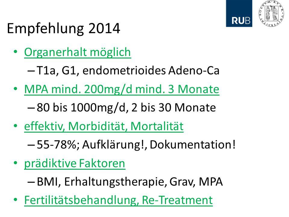 Empfehlung 2014 Organerhalt möglich – T1a, G1, endometrioides Adeno-Ca MPA mind.