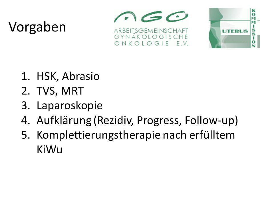 Vorgaben 1.HSK, Abrasio 2.TVS, MRT 3.Laparoskopie 4.Aufklärung (Rezidiv, Progress, Follow-up) 5.Komplettierungstherapie nach erfülltem KiWu