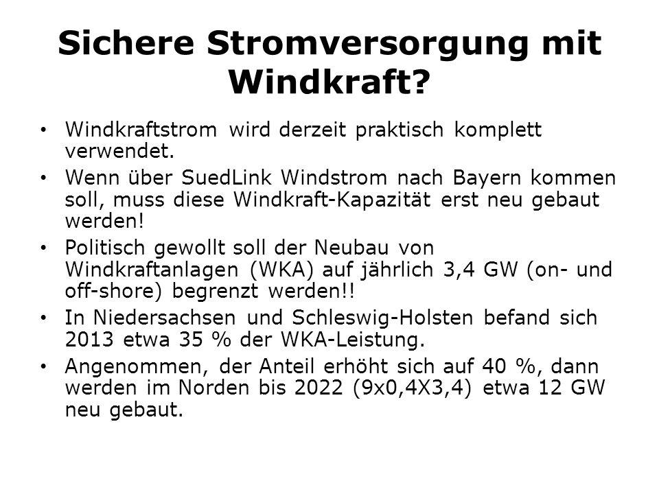 Sichere Stromversorgung mit Windkraft? Windkraftstrom wird derzeit praktisch komplett verwendet. Wenn über SuedLink Windstrom nach Bayern kommen soll,