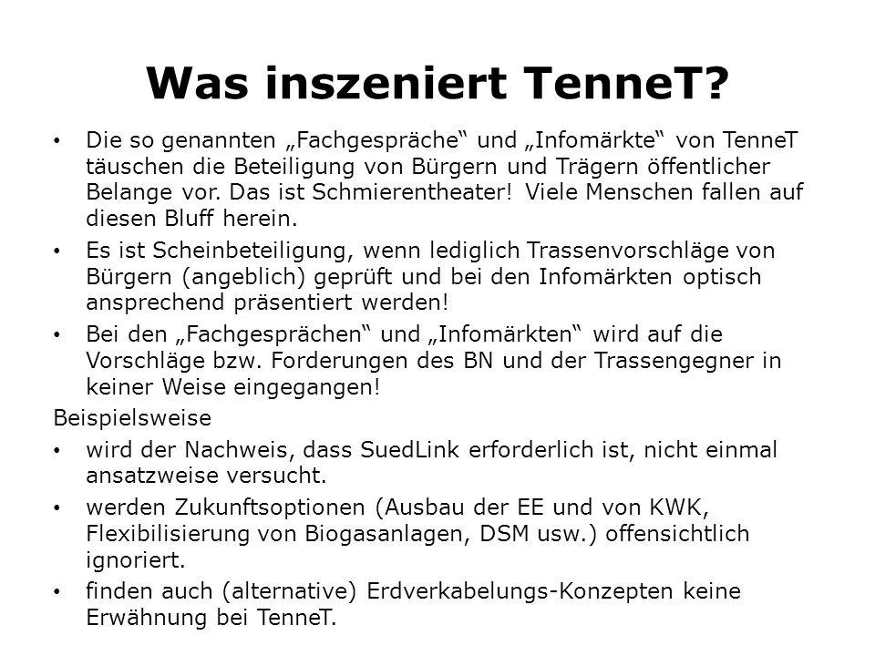 """Was inszeniert TenneT? Die so genannten """"Fachgespräche"""" und """"Infomärkte"""" von TenneT täuschen die Beteiligung von Bürgern und Trägern öffentlicher Bela"""