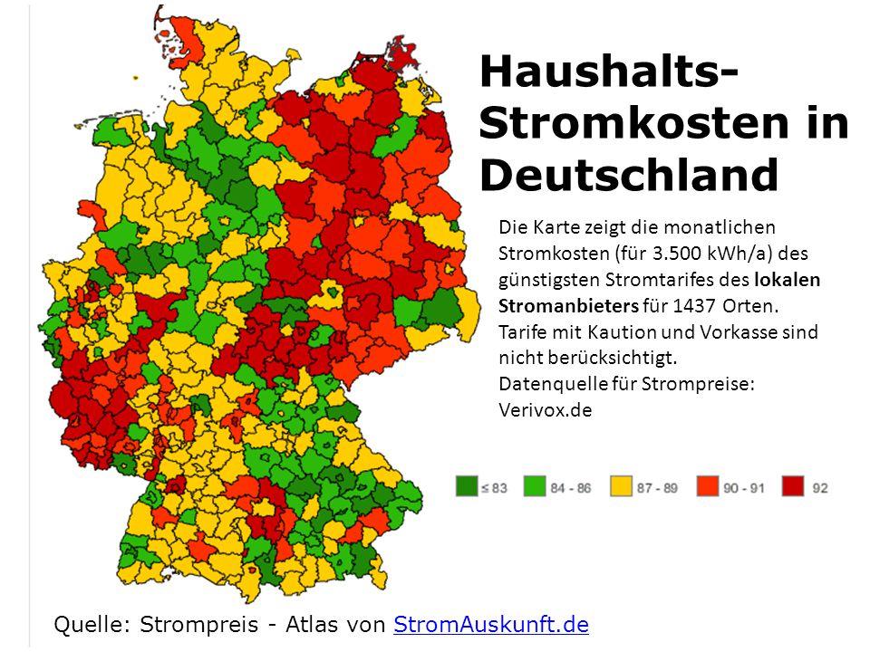 Die Karte zeigt die monatlichen Stromkosten (für 3.500 kWh/a) des günstigsten Stromtarifes des lokalen Stromanbieters für 1437 Orten. Tarife mit Kauti