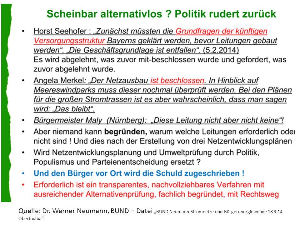 """Quelle: Dr. Werner Neumann, BUND – Datei """"BUND Neumann Stromnetze und Bürgerenergiewende 18 9 14 Oberthulba"""""""