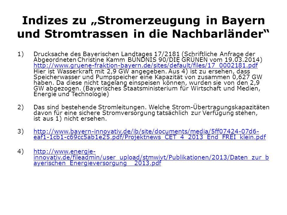 """Indizes zu """"Stromerzeugung in Bayern und Stromtrassen in die Nachbarländer"""" 1)Drucksache des Bayerischen Landtages 17/2181 (Schriftliche Anfrage der A"""
