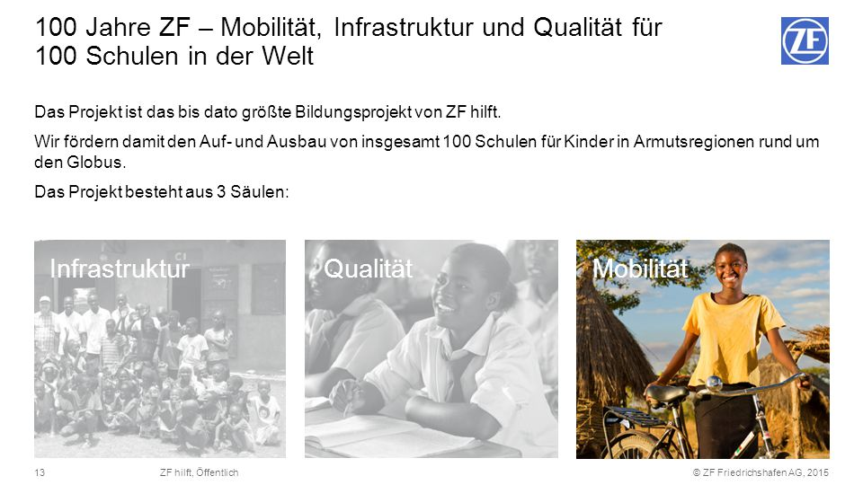 © ZF Friedrichshafen AG, 201513ZF hilft, Öffentlich Das Projekt ist das bis dato größte Bildungsprojekt von ZF hilft. Wir fördern damit den Auf- und A