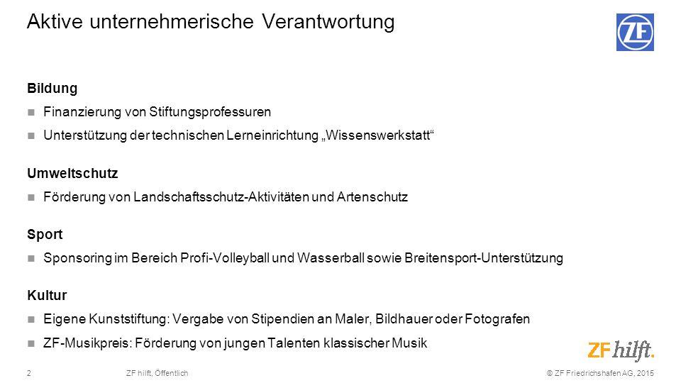 """© ZF Friedrichshafen AG, 20152ZF hilft, Öffentlich Bildung Finanzierung von Stiftungsprofessuren Unterstützung der technischen Lerneinrichtung """"Wissen"""