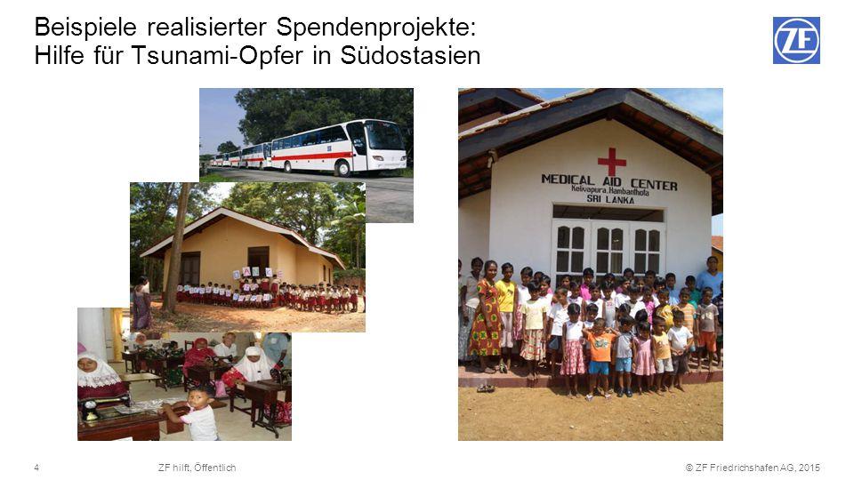 © ZF Friedrichshafen AG, 20154ZF hilft, Öffentlich Beispiele realisierter Spendenprojekte: Hilfe für Tsunami-Opfer in Südostasien
