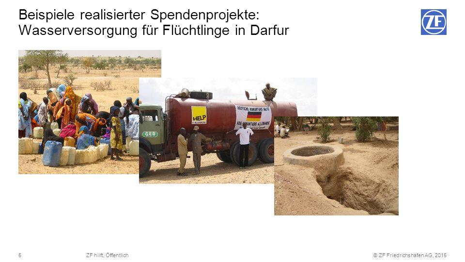 © ZF Friedrichshafen AG, 20155ZF hilft, Öffentlich Beispiele realisierter Spendenprojekte: Wasserversorgung für Flüchtlinge in Darfur