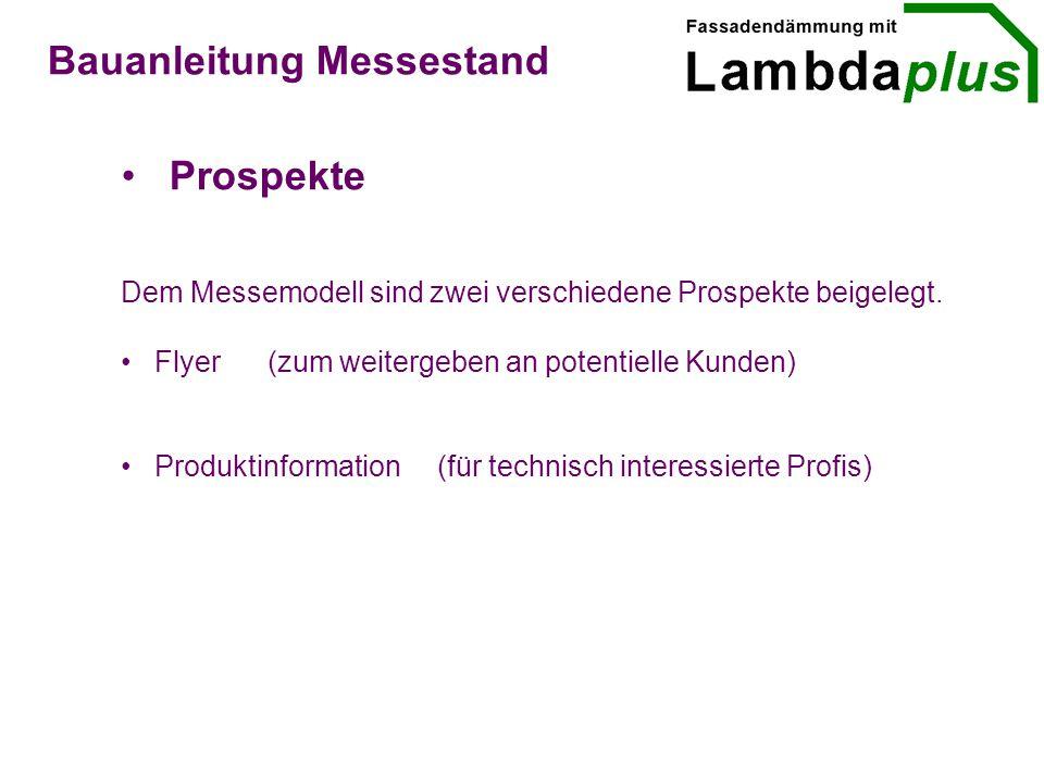 Bauanleitung Messestand Prospekte Dem Messemodell sind zwei verschiedene Prospekte beigelegt.