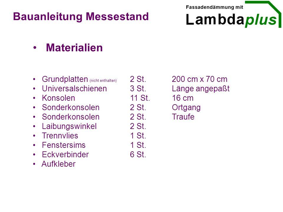 Materialien Bauanleitung Messestand Grundplatten (nicht enthalten) 2 St.