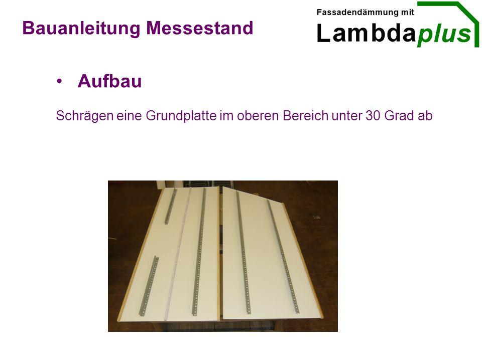 Aufbau Bauanleitung Messestand Schrägen eine Grundplatte im oberen Bereich unter 30 Grad ab