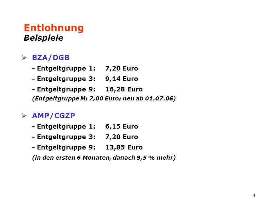 4 Entlohnung Beispiele  BZA/DGB - Entgeltgruppe 1: 7,20 Euro - Entgeltgruppe 3:9,14 Euro - Entgeltgruppe 9:16,28 Euro (Entgeltgruppe M: 7,00 Euro; ne