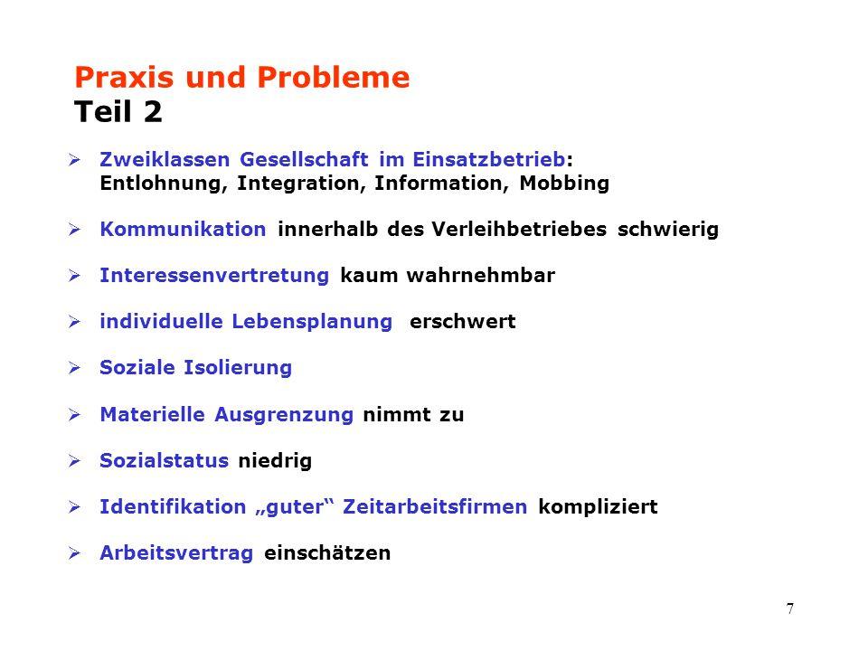 7 Praxis und Probleme Teil 2  Zweiklassen Gesellschaft im Einsatzbetrieb: Entlohnung, Integration, Information, Mobbing  Kommunikation innerhalb des