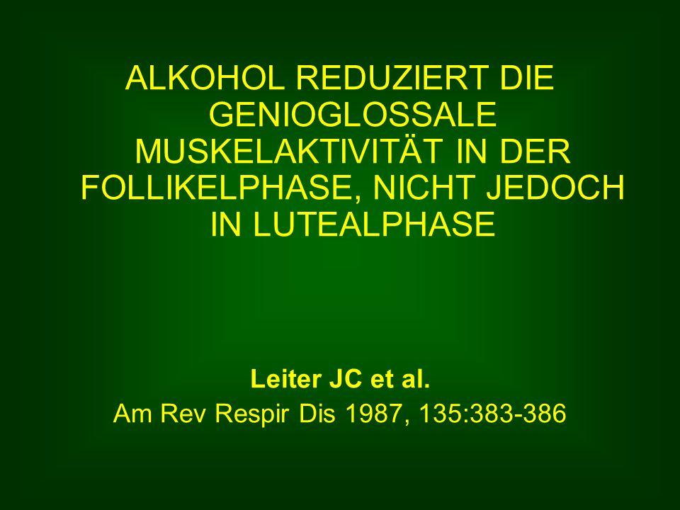ALKOHOL REDUZIERT DIE GENIOGLOSSALE MUSKELAKTIVITÄT IN DER FOLLIKELPHASE, NICHT JEDOCH IN LUTEALPHASE Leiter JC et al.