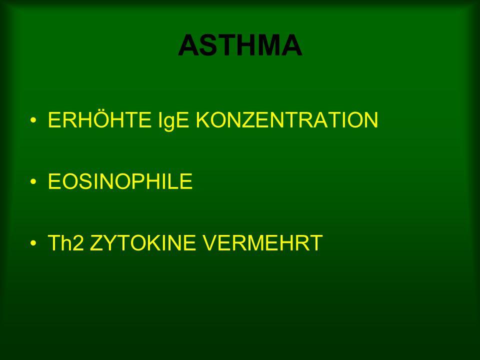 ASTHMA ERHÖHTE IgE KONZENTRATION EOSINOPHILE Th2 ZYTOKINE VERMEHRT