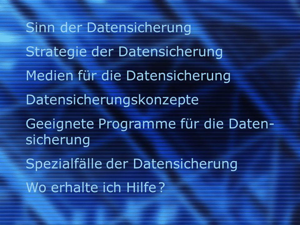 Sinn der Datensicherung Strategie der Datensicherung Medien für die Datensicherung Datensicherungskonzepte Geeignete Programme für die Daten- sicherun