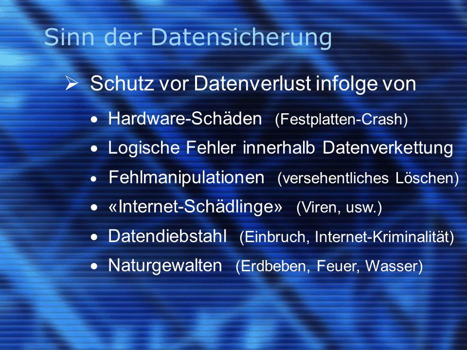 Sinn der Datensicherung  Schutz vor Datenverlust infolge von  Hardware-Schäden (Festplatten-Crash)  Logische Fehler innerhalb Datenverkettung  Feh