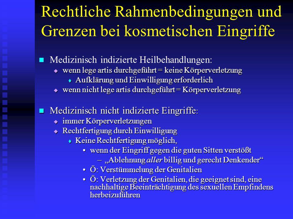 Rechtliche Rahmenbedingungen und Grenzen bei kosmetischen Eingriffe Medizinisch indizierte Heilbehandlungen:  wenn lege artis durchgeführt = keine Kö