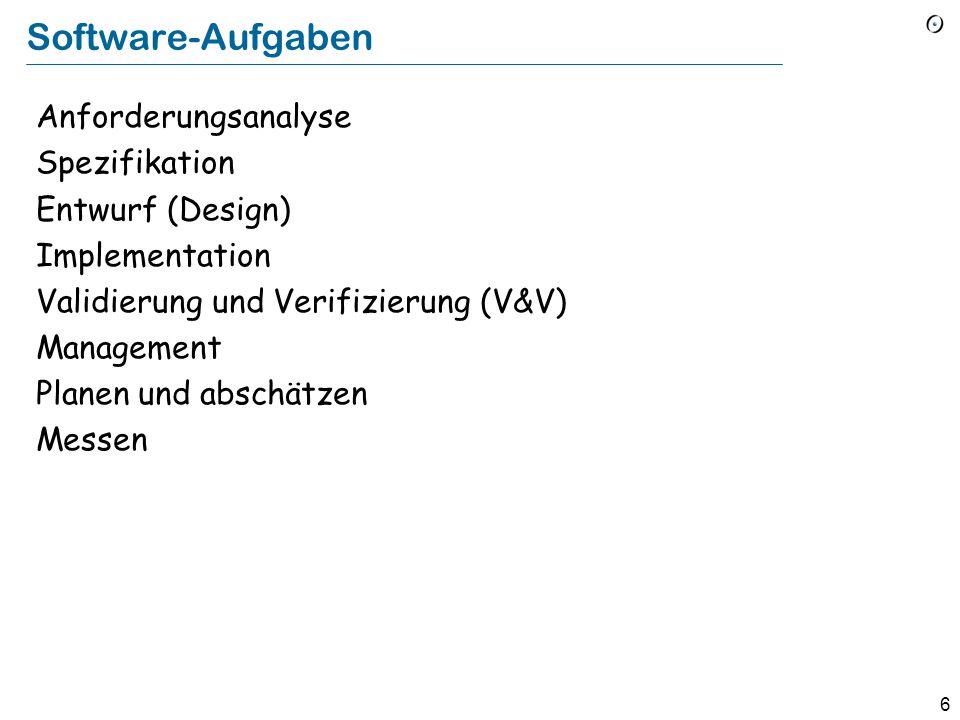 5 Software-Engineering (1) Die Prozesse, Methoden, Techniken, Werkzeuge und Sprachen, um funktionsfähige Qualitätssoftware zu entwickeln