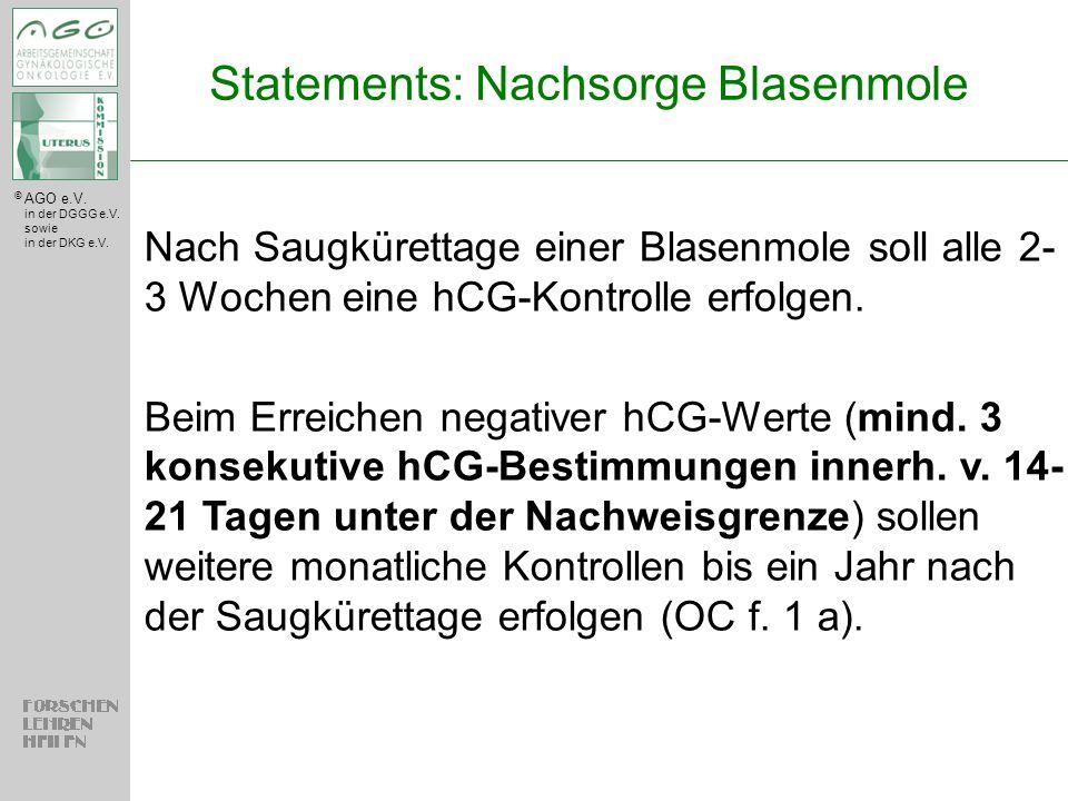© AGO e.V. in der DGGG e.V. sowie in der DKG e.V. Nach Saugkürettage einer Blasenmole soll alle 2- 3 Wochen eine hCG-Kontrolle erfolgen. Beim Erreiche