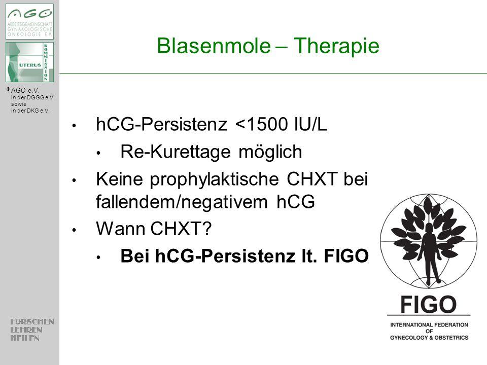 © AGO e.V. in der DGGG e.V. sowie in der DKG e.V. Blasenmole – Therapie hCG-Persistenz <1500 IU/L Re-Kurettage möglich Keine prophylaktische CHXT bei