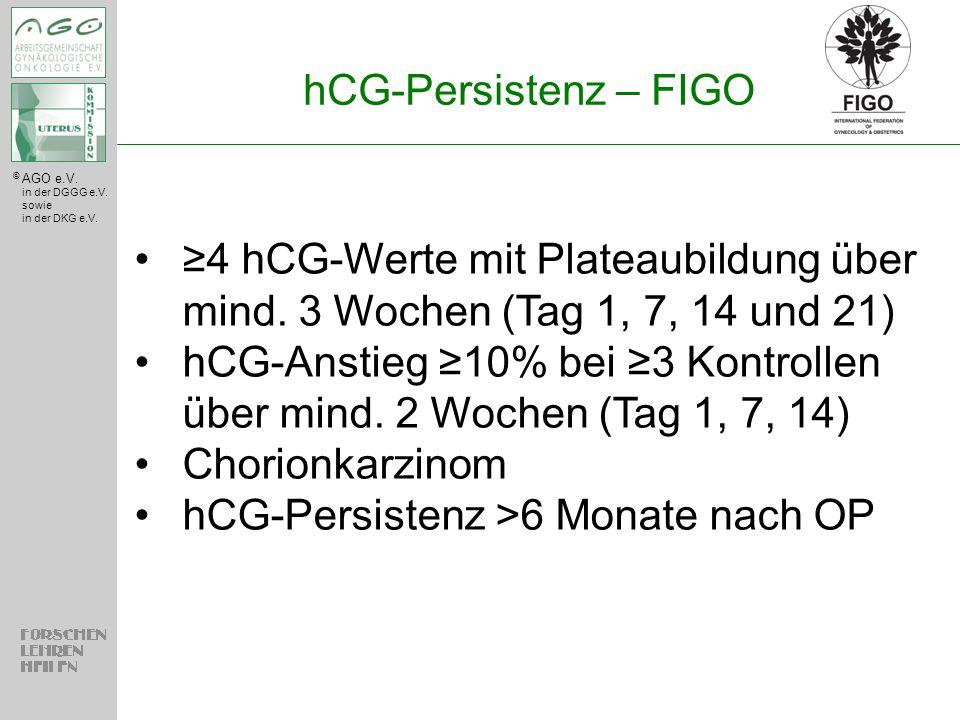 © AGO e.V. in der DGGG e.V. sowie in der DKG e.V. hCG-Persistenz – FIGO ≥4 hCG-Werte mit Plateaubildung über mind. 3 Wochen (Tag 1, 7, 14 und 21) hCG-