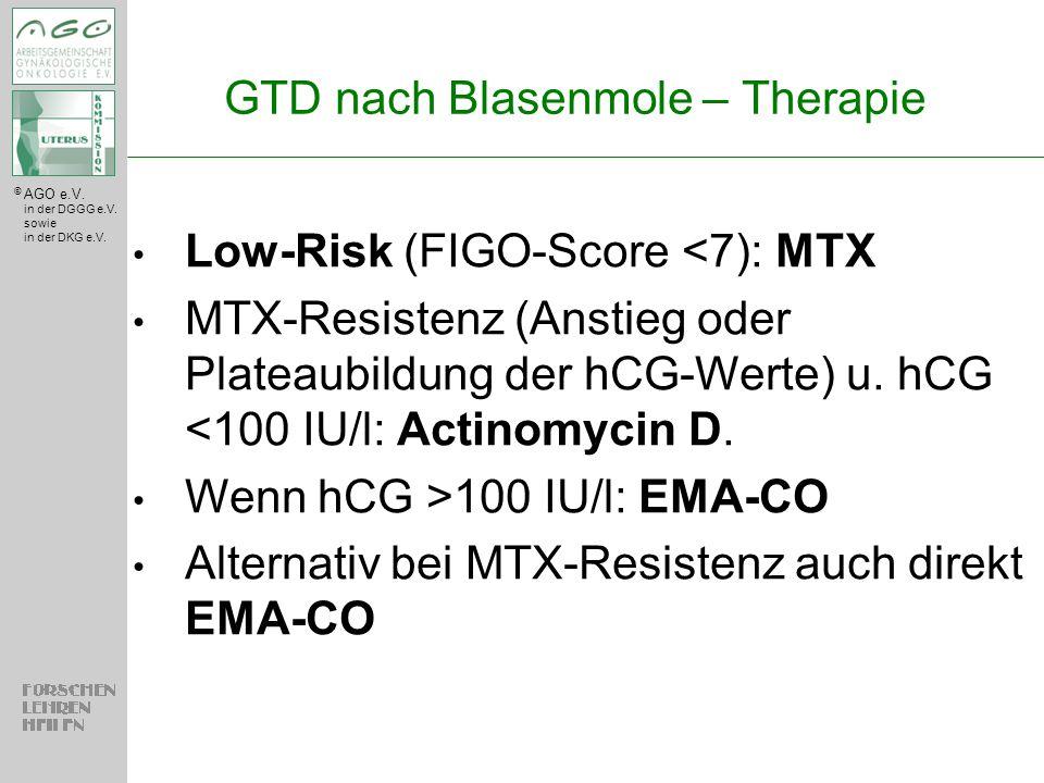 © AGO e.V. in der DGGG e.V. sowie in der DKG e.V. GTD nach Blasenmole – Therapie Low-Risk (FIGO-Score <7): MTX MTX-Resistenz (Anstieg oder Plateaubild