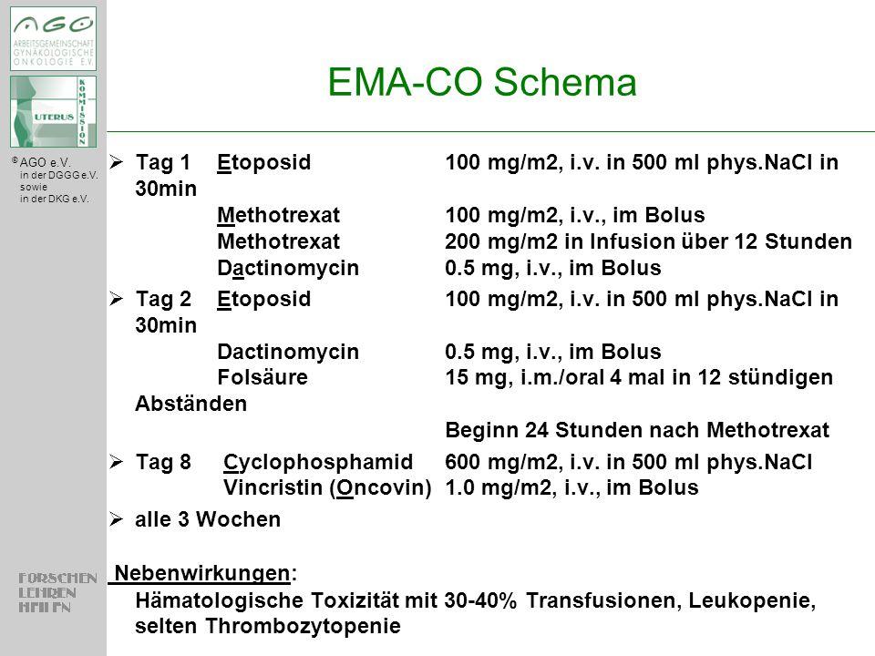 © AGO e.V. in der DGGG e.V. sowie in der DKG e.V.  Tag 1Etoposid100 mg/m2, i.v. in 500 ml phys.NaCl in 30min Methotrexat100 mg/m2, i.v., im Bolus Met