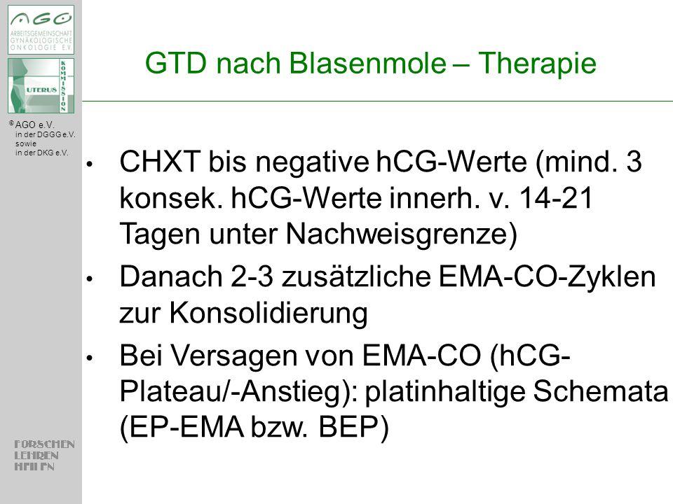 © AGO e.V. in der DGGG e.V. sowie in der DKG e.V. GTD nach Blasenmole – Therapie CHXT bis negative hCG-Werte (mind. 3 konsek. hCG-Werte innerh. v. 14-