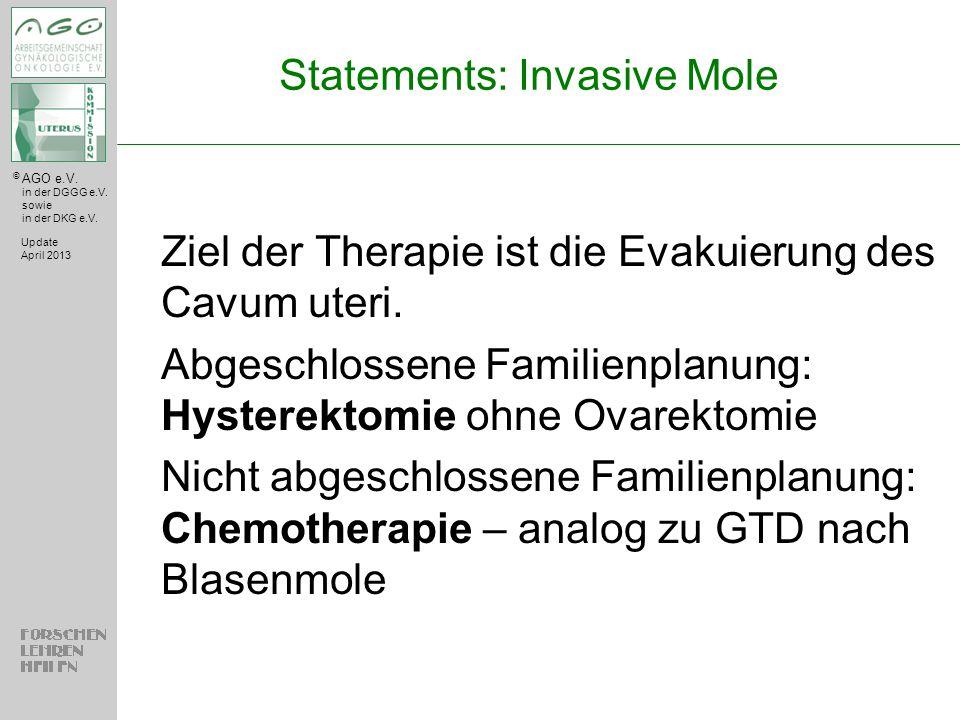 © AGO e.V. in der DGGG e.V. sowie in der DKG e.V. Statements: Invasive Mole Ziel der Therapie ist die Evakuierung des Cavum uteri. Abgeschlossene Fami