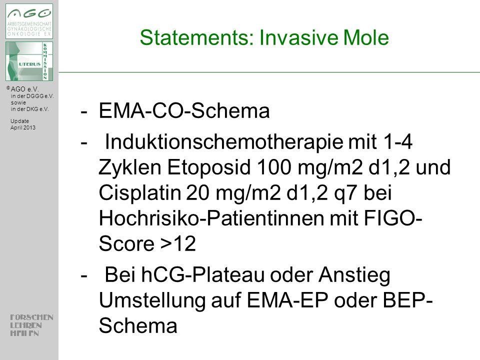 © AGO e.V. in der DGGG e.V. sowie in der DKG e.V. Statements: Invasive Mole -EMA-CO-Schema - Induktionschemotherapie mit 1-4 Zyklen Etoposid 100 mg/m2