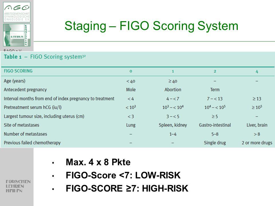 © AGO e.V. in der DGGG e.V. sowie in der DKG e.V. Staging – FIGO Scoring System Max. 4 x 8 Pkte FIGO-Score <7: LOW-RISK FIGO-SCORE ≥7: HIGH-RISK