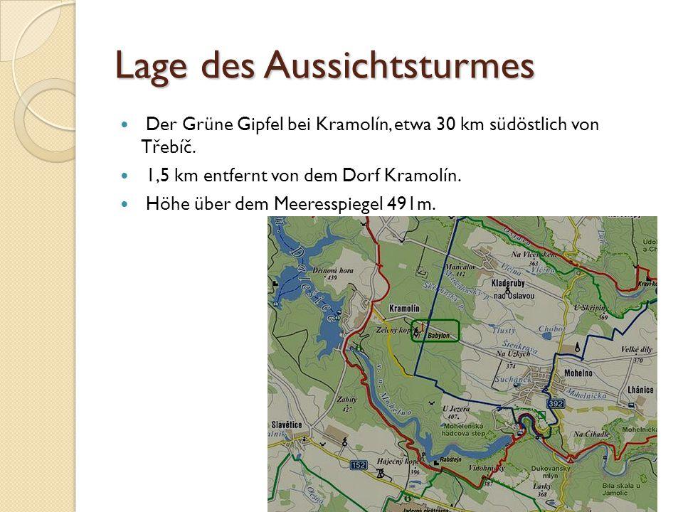 Lage des Aussichtsturmes Der Grüne Gipfel bei Kramolín, etwa 30 km südöstlich von Třebíč.