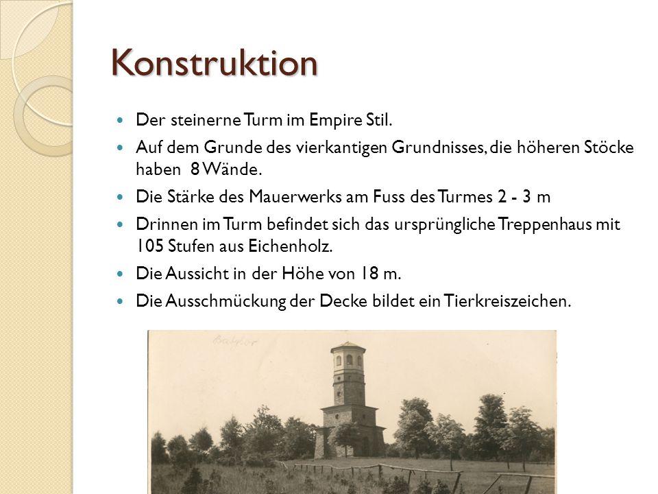 Konstruktion Der steinerne Turm im Empire Stil. Auf dem Grunde des vierkantigen Grundnisses, die höheren Stöcke haben 8 Wände. Die Stärke des Mauerwer