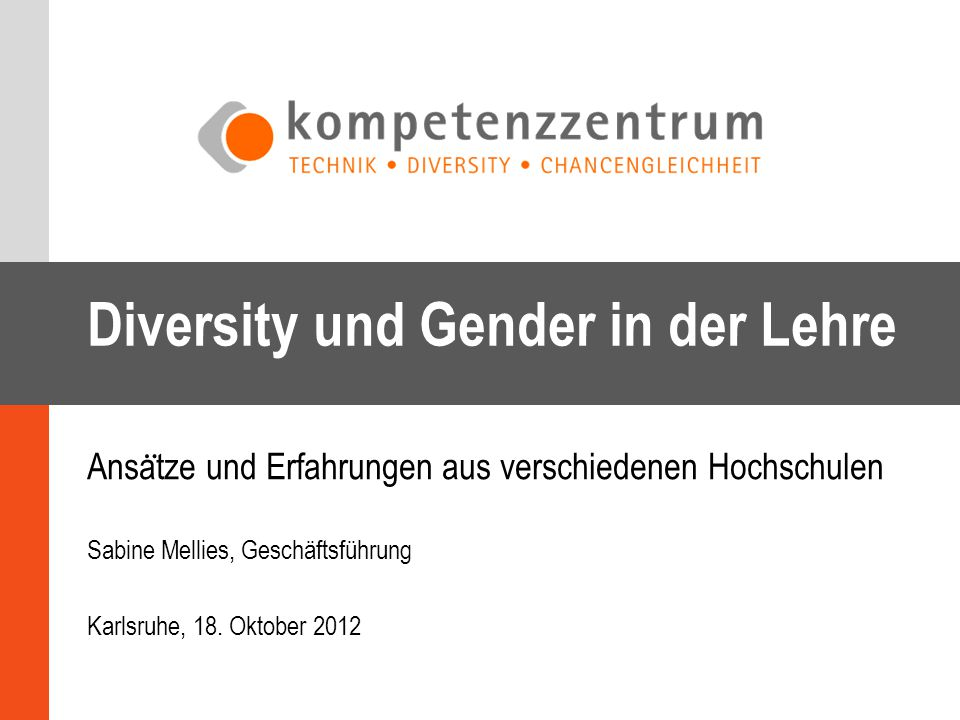 Diversity und Gender in der Lehre Ansa ̈ tze und Erfahrungen aus verschiedenen Hochschulen Sabine Mellies, Geschäftsführung Karlsruhe, 18. Oktober 201