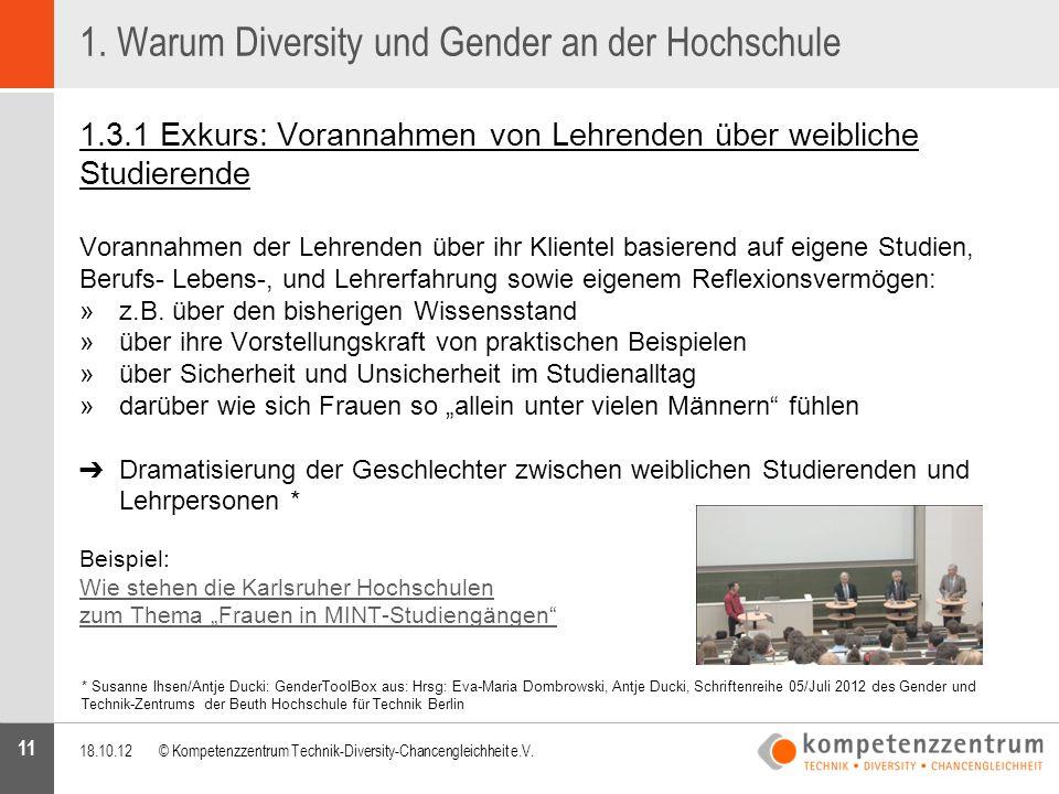 11 1. Warum Diversity und Gender an der Hochschule 1.3.1 Exkurs: Vorannahmen von Lehrenden über weibliche Studierende Vorannahmen der Lehrenden über i