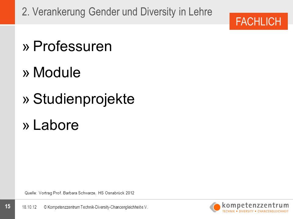 15 »Professuren »Module »Studienprojekte »Labore 2. Verankerung Gender und Diversity in Lehre 18.10.12© Kompetenzzentrum Technik-Diversity-Chancenglei