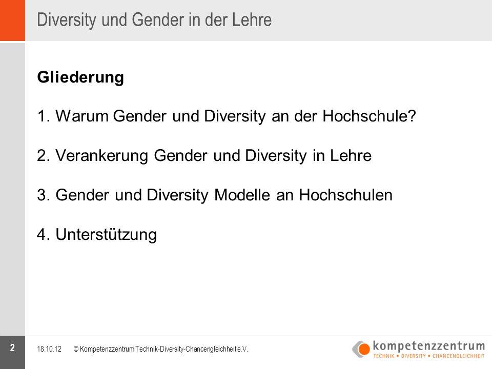 2 Diversity und Gender in der Lehre Gliederung 1.Warum Gender und Diversity an der Hochschule? 2.Verankerung Gender und Diversity in Lehre 3.Gender un