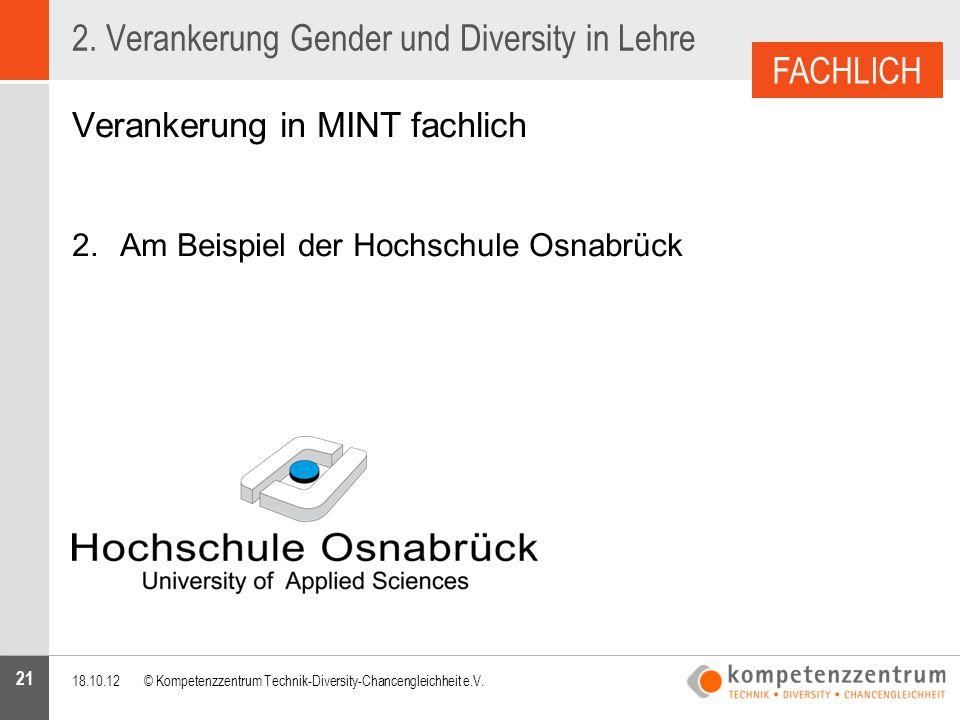 21 2. Verankerung Gender und Diversity in Lehre Verankerung in MINT fachlich 2.Am Beispiel der Hochschule Osnabrück 18.10.12© Kompetenzzentrum Technik