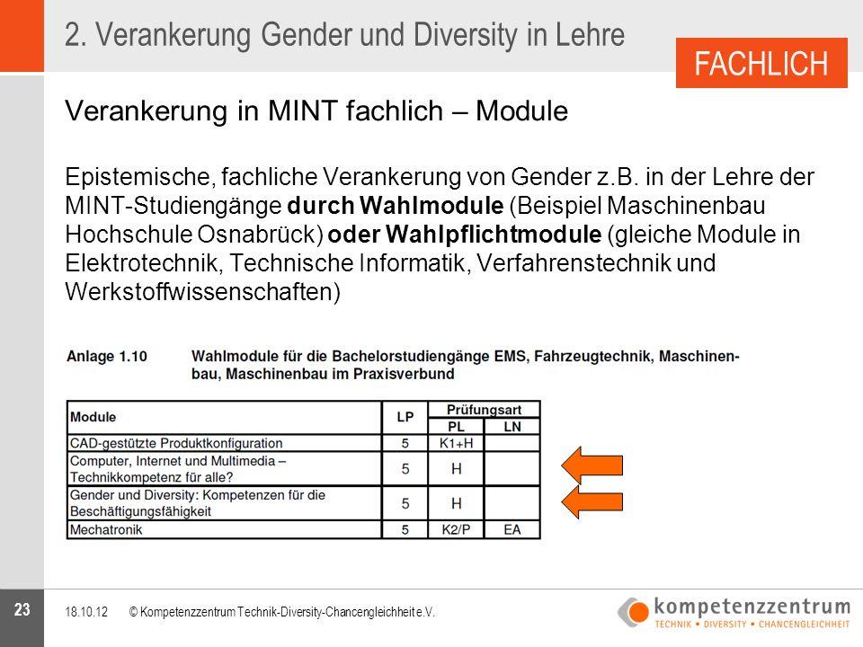 23 2. Verankerung Gender und Diversity in Lehre Verankerung in MINT fachlich – Module Epistemische, fachliche Verankerung von Gender z.B. in der Lehre