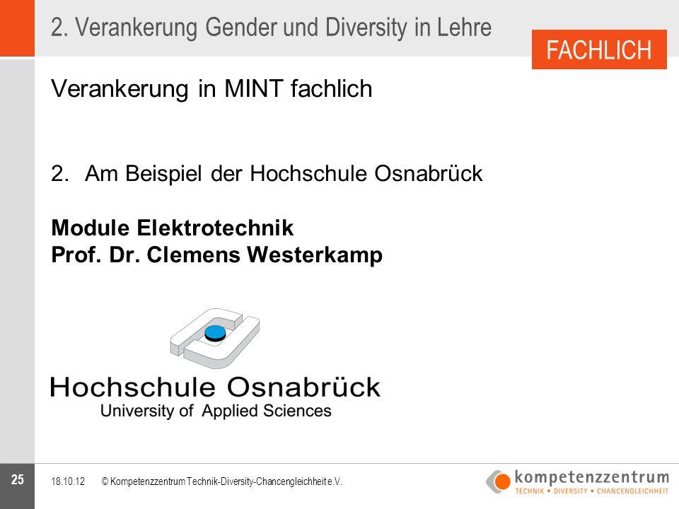 25 2. Verankerung Gender und Diversity in Lehre Verankerung in MINT fachlich 2.Am Beispiel der Hochschule Osnabrück Module Elektrotechnik Prof. Dr. Cl