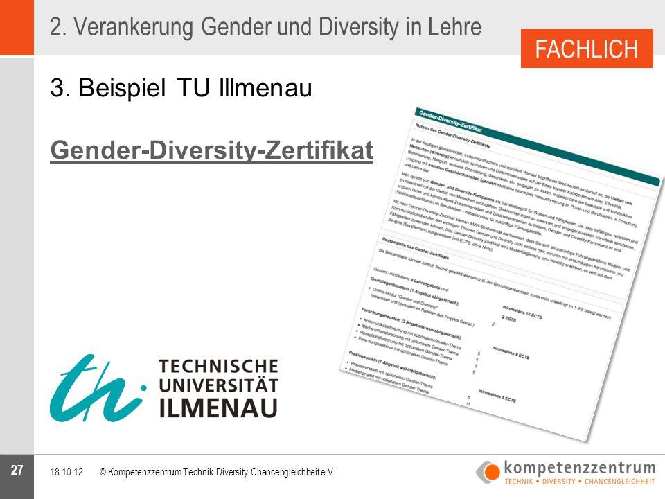 27 2. Verankerung Gender und Diversity in Lehre 3. Beispiel TU Illmenau Gender-Diversity-Zertifikat 18.10.12© Kompetenzzentrum Technik-Diversity-Chanc